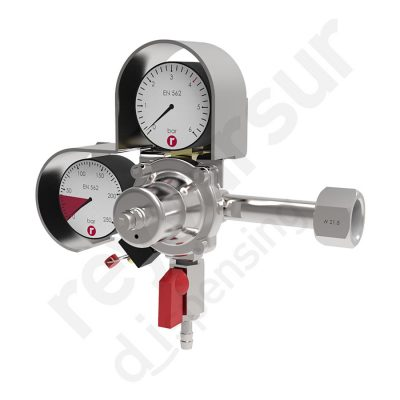 Regulador de presión CO2 simple espiga con manómetro 250. Reyvarsur, soluciones en dispensación bebidas embarriladas, cerveza, vino, sidra o agua.