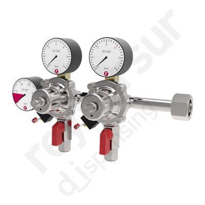 Regulador de presión CO2 doble enchufe rápido sin protección. Reyvarsur, soluciones en dispensación bebidas embarriladas, cerveza, vino, sidra o agua.