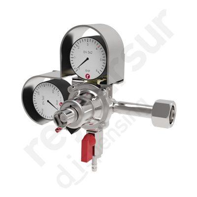 Regulador de presión CO2 simple espiga con manometro 315. Reyvarsur, soluciones en dispensación bebidas embarriladas, cerveza, vino, sidra o agua.