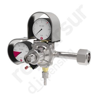 Regulador de presión CO2 simple antirretorno espiga. Reyvarsur, soluciones en dispensación bebidas embarriladas, cerveza, vino, sidra o agua.