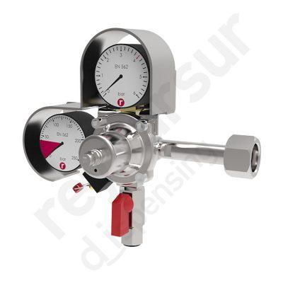 Regulador de presión CO2 simple enchufe rápido con protección. Reyvarsur, soluciones en dispensación bebidas embarriladas, cerveza, vino, sidra o agua.
