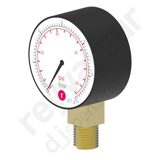 Manómetro de 0 a 6 bares de 50 milímetros de diámetro rosca ¼″ NPT. Reyvarsur, soluciones en dispensación de bebidas, cerveza, vino, sidra, agua o soda.